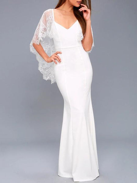 Lace Cape V-back Evening Dress