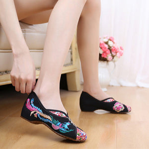 Phoenix Embroidered Old peking Vintage Flat Shoes