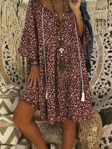 Boho Style Printed Loose Fitting Dress