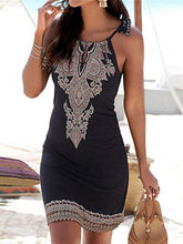 Load image into Gallery viewer, Halter Neck Boho Print Sleeveless Casual Mini Beach Sundress