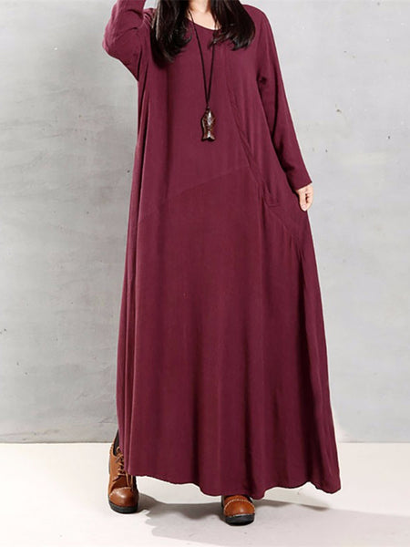 Women Vintage Cotton Tunic Loose Solid Color Long Sleeve Maxi Dress
