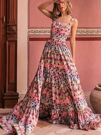 Bohemian Stitching Halter Long Dress