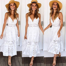 Load image into Gallery viewer, Sexy Deep V Neck Lace Summer White Midi Dress