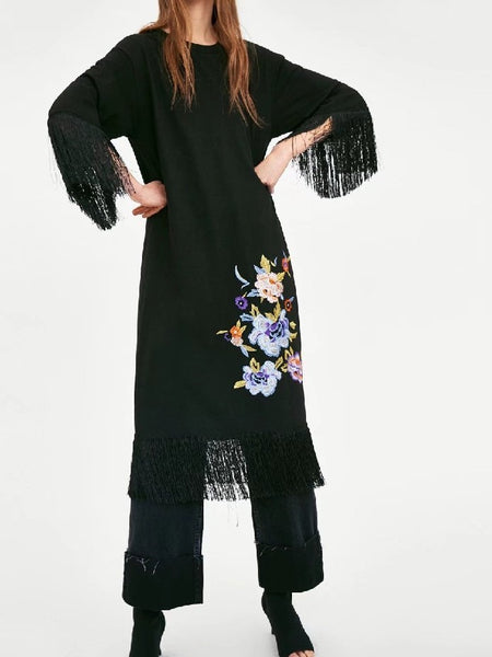Round Neck Long Sleeve Tassel Flower Embroidered Casual Midi Dress