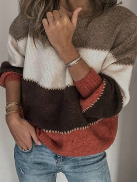 fashion new Female pullover Spring And Autumn Loose Knitwear Spell Color Stripe O Neck Leisure splice Coat Sweater Women