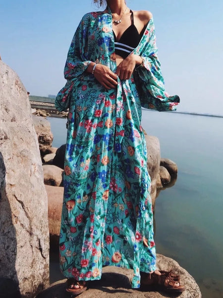 Summer New Floral Print Bat Sleeve Kimono Female Shawl