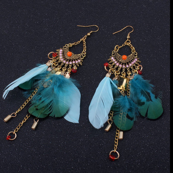 Beautiful Bohemia Tassel Feather Shape Style Long Earrings