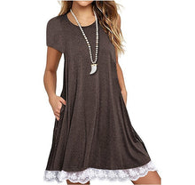 Load image into Gallery viewer, Explosions Lace Stitching Crew Neck Short Sleeve Large Size Dress