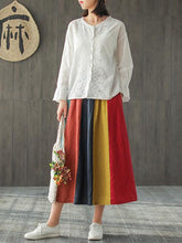 Load image into Gallery viewer, Flax Loose Elastic Waist Retro Contrast Rainbow Skirt