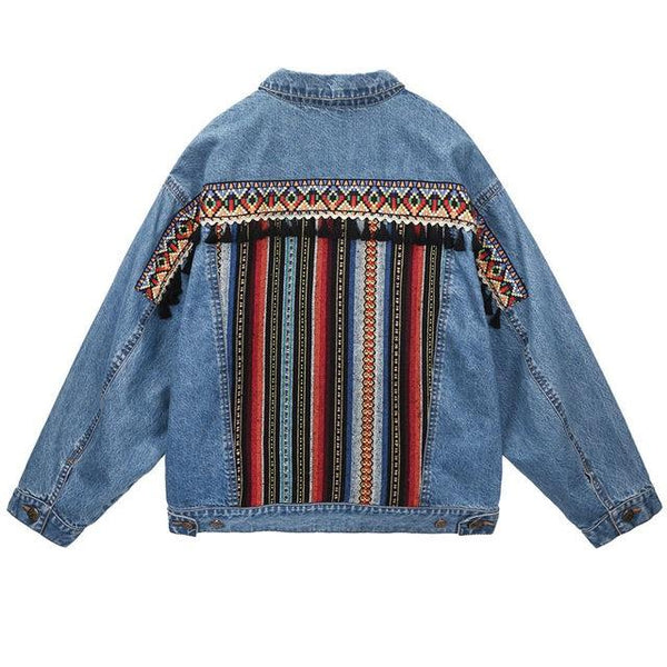 National Style Long Sleeve Loose Denim Jacket Retro Top Outwear
