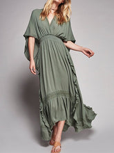 Load image into Gallery viewer, V Neck Short Sleeve High Waist Loose Maxi Dress