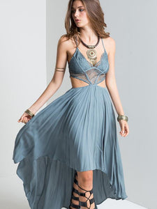 Sexy Spaghetti Straps Backless Hi-Lo Style Maxi Dress