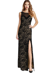 2018 Summer Lace Sleeveless Split Evening Gown Maxi Dress