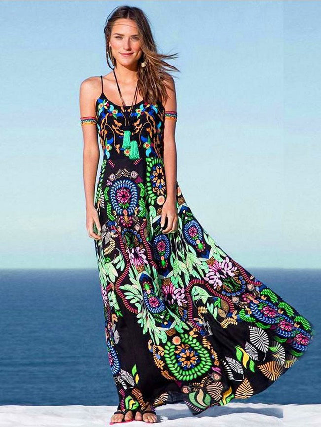 Women long dress print dress