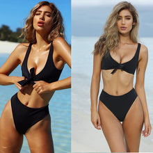 Load image into Gallery viewer, Knot halter Deep V bikini swimsuit