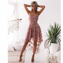Load image into Gallery viewer, LACE EMBROIDERY V-NECK SPAGHETTI STRAPS MINI DRESS COCKTAIL DRESS