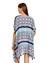 Load image into Gallery viewer, Casual Beach Vacation Tassel Chiffon Short Sleeve V Neck Mask Cover-ups