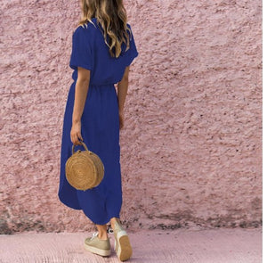 Solid Color V Neck Short Sleeve Dress