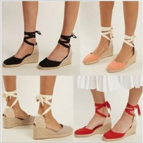 d19a9cbb3 2018 Bandage Wedge Heels Beach Casual Shoes For Women – 8 Banana