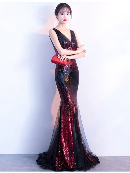 Deep V sequin fishtail evening dress