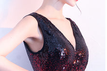 Load image into Gallery viewer, Deep V sequin fishtail evening dress