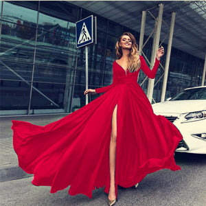 V Neck Long Sleeve Split Party Evening Maxi Dress