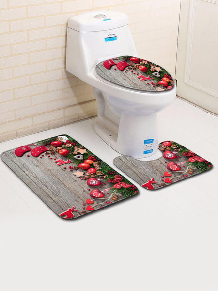 3D Christmas bathroom toilet three-piece floor mat door mat bathroom carpet set