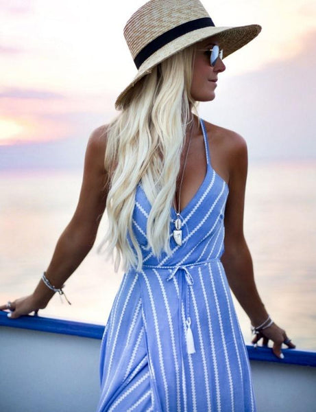 Sexy V-Neck Stripes Maxi Dress Beach Dress