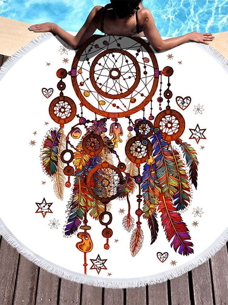 Dream Catcher Feather Round Yoga Mat Print Tassel Beach Towel