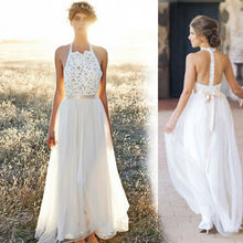 Load image into Gallery viewer, Sexy Lace Wedding Dress Evening Dress Halter Dress