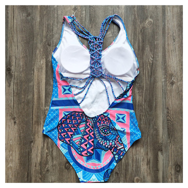 Ethnic Style Printed Woven One-Piece Swimsuit