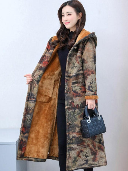 Winter National Female Thickened Chinese Style Retro Buckle Printing Medium Long Hooded Coat