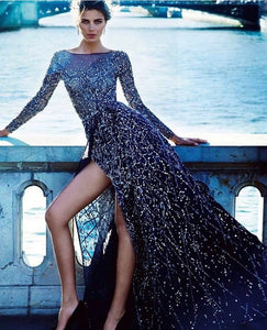 Dendritic Overlapping Split-side Embroidery Sequin Long Sleeves Evening Dress