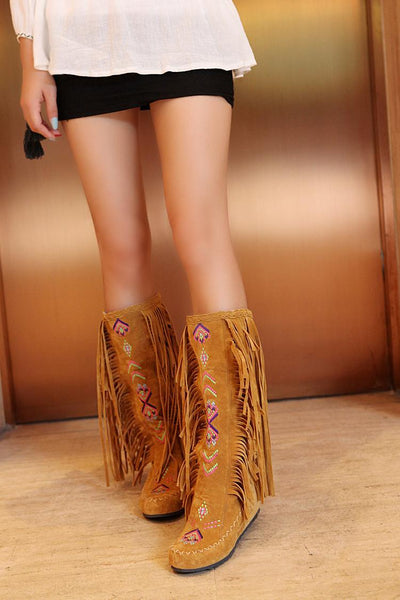 Spring and Autumn Women s Boots New Fashion Ethnic Fashion Casual Fringed Boots with flat-bottomed boots