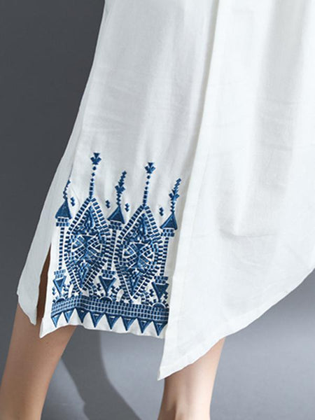 Embroidered Split Loose National Style Dress