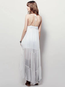 New Spaghetti Strap Embroidered Maxi Dress