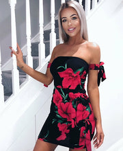 Load image into Gallery viewer, Black Floral Print Off Shoulder Bodycon Mini Dress