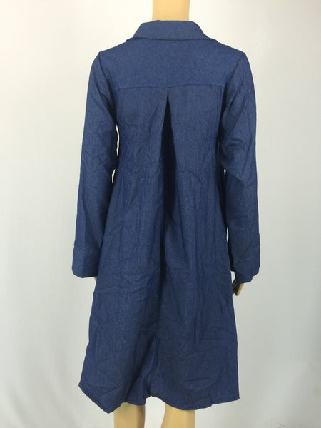 Pocket denim shirt large size women s irregular dress