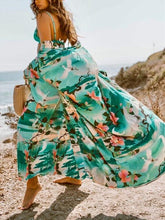 Load image into Gallery viewer, Women Long wrap Belt Ties Front Beach Floral Kimono Swimwear Cover Ups
