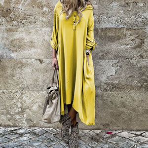 Autumn Women Long Sleeve Casual Buttons Loose Maxi  Ladies Fashion Dress