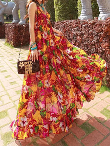 Bohemian Chiffon Dress Ladies Floral Printed Deep V-neck Sexy Spaghetti Strap Backless Summer Maxi Dress