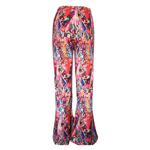 Bohemian flower printer wide leg pants Women high waist elastic stretch trousers