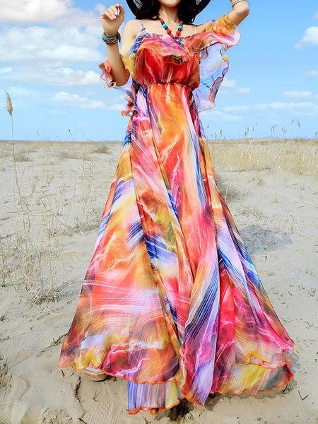 Hot beach chiffon dress sleeveless bohemia full dress holiday maxi dress