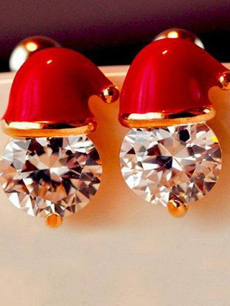 Christmas Earrings Santa Claus Studs Inlaid With Zircon Christmas Party Jewelry