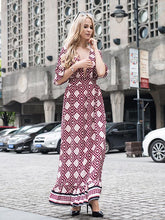 Load image into Gallery viewer, Fashion Popular Floral-Print Falbala Short Sleeve Deep V Neck Maxi Long Dress