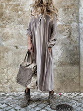 Load image into Gallery viewer, Autumn Women Long Sleeve Casual Buttons Loose Maxi  Ladies Fashion Dress