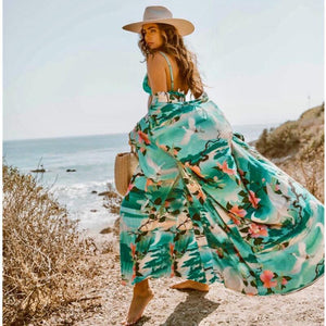 Women Long wrap Belt Ties Front Beach Floral Kimono Swimwear Cover Ups