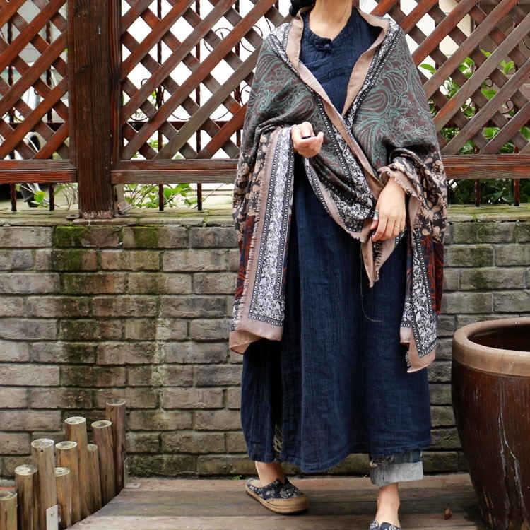71bacdecc617f ... Load image into Gallery viewer, Vintage Pattern Comfortable Cotton  Ethnic Style Big Scarf Shawl ...