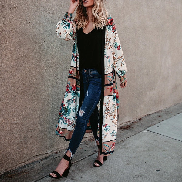 White Fashion Floral Printed Cover-up Outwear