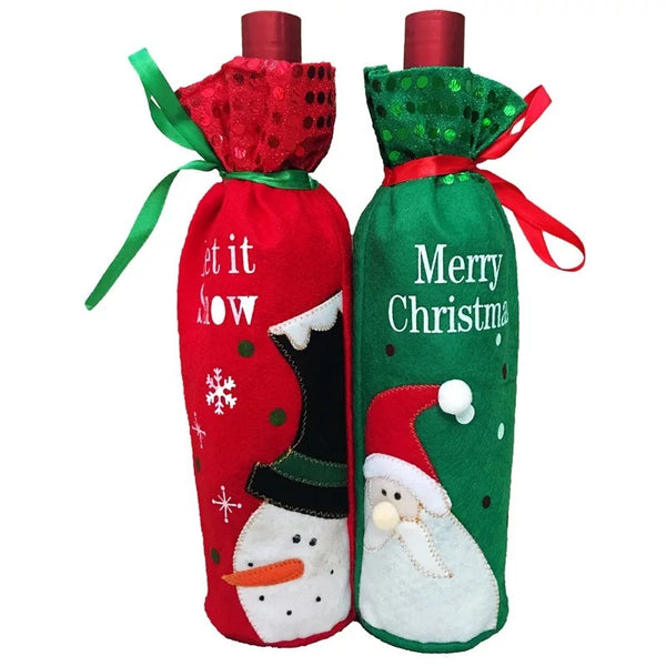 Xmas Wine Bottle Cover Bag Decoration Home Party Santa Claus Christmas Party Dinner